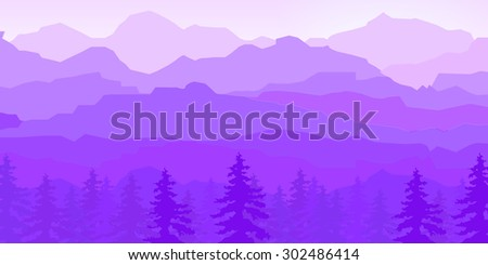 view of purple mountains in fog