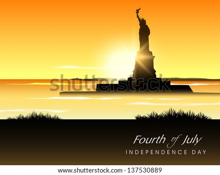 View of Statue of Liberty in evening background with text Fourth of July.