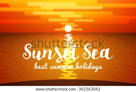 view of sunset sea vector