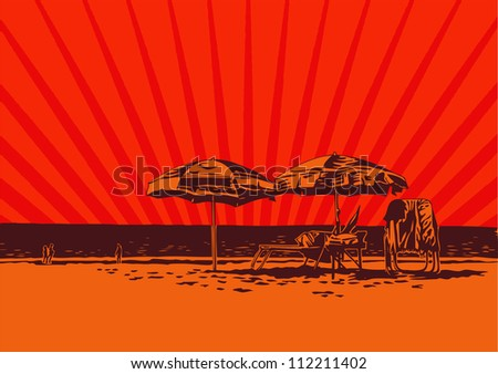 view of the beach with umbrellas and sun loungers. vector illustration.