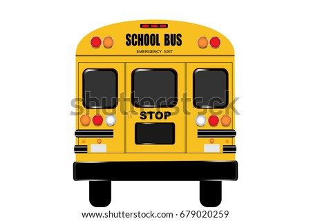 View of the entire rear of the school bus isolated on the white background