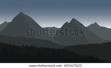 Shutterstock View of the mountain landscape with forests under the night sky with stars - vector
