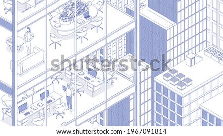 View of the office building and the city. Isometric cityscape, city view, city skyline. Vector illustration in flat design. Outlined, linear style, line art. People at work.