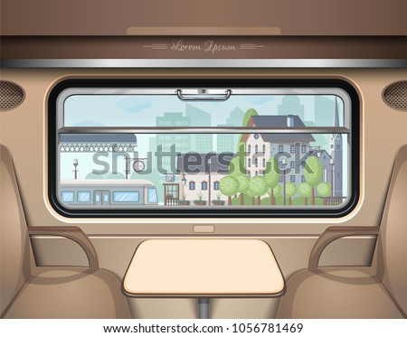 View of the railway station from the train window. Travel and transportation by train. Train Journey. Vector illustration