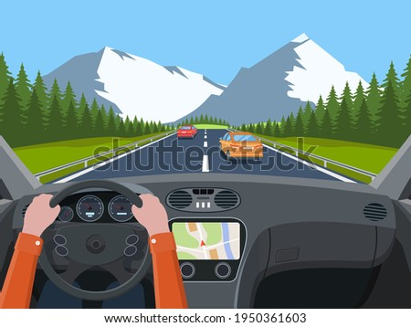 View of the road from the car interior. Vehicle salon, inside car driver . Road with cars. Hands on Steering Wheel. Car view steering and windshield. Vector illustration in flat style