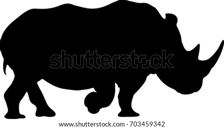 View on the silhouette of a rhinoceros - digitally hand drawn vector illustration