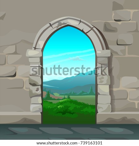 view through the arch of stone