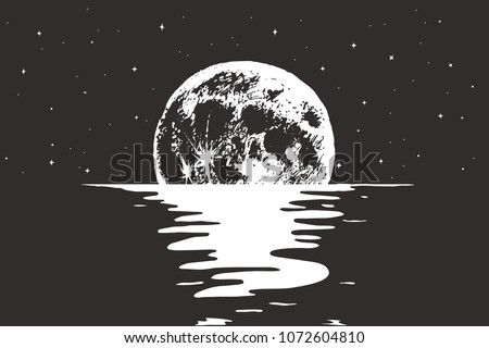 view to full moon at the night