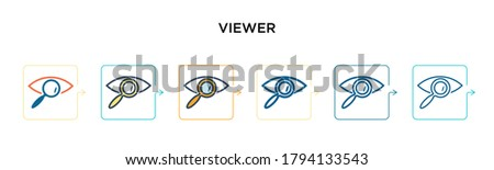 Viewer vector icon in 6 different modern styles. Black, two colored viewer icons designed in filled, outline, line and stroke style. Vector illustration can be used for web, mobile, ui ストックフォト ©