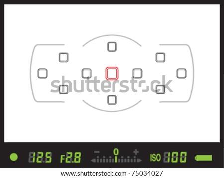 Viewfinder of digital single lens reflex / DSLR camera in vector