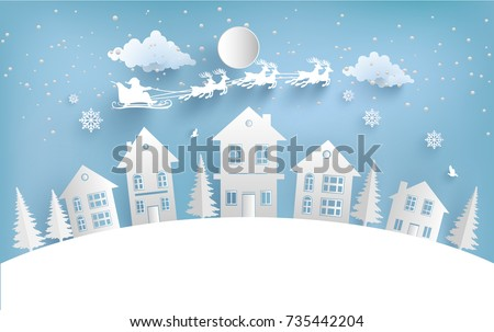 views of housing in winter. winter illustration with home and santa clause. paper art design