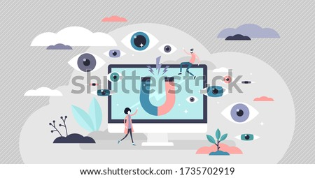 Views vector illustration. Attract blog audience flat tiny persons concept. Social media platform channel viewers subscription and engagement attraction to growth website popularity and visitor number Photo stock ©
