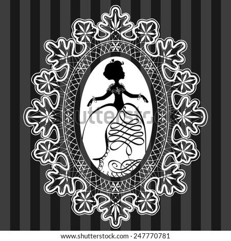Vignette  illustration of little princess in lace oval frame