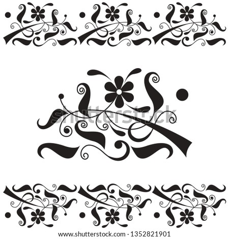 vignettes of flowers and leaves. Buttercup flower. decorative border. decorative frame. vector illustration. EPS 8.