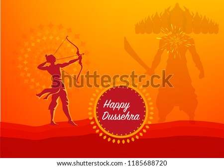 Vijayadashami also known as Dasara, Dusshera or Dussehra is a major Hindu festival celebrated at the end of Navratri every year 2018 - Shutterstock ID 1185688720