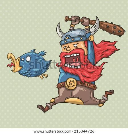 viking and bird