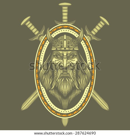 viking and swords vector