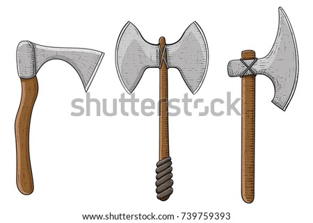 Viking axes. Colored hand drawn sketch. Vector illustration isolated on white background