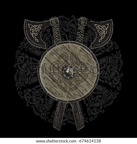 viking design  crossed viking