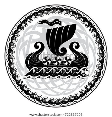 Viking Drakkar. Drakkar ship sailing on the stormy sea and mythical tree Yggdrasil, vector illustration, isolated on black