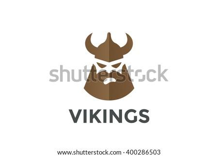 Viking Head In Helmet Silhouette Beer Pub Logo Design Vector Template Ancient Warrior Logotype Concept