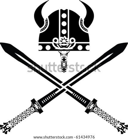 viking helmet and swords. vector illustration - stock vector