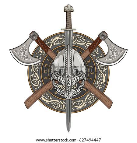 viking helmet  crossed viking