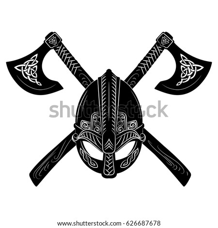 Viking helmet, crossed viking axes and Scandinavian pattern, vector illustration