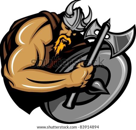 Viking Norseman Mascot Cartoon with Ax and Shield #83914894