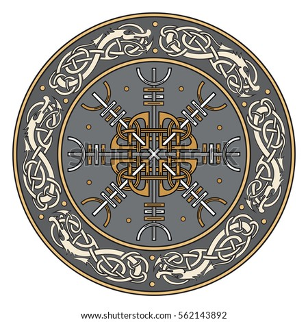 Viking shield, decorated with a Scandinavian pattern of dragons and Aegishjalmur, Helm of awe (helm of terror), Icelandic magical staves, isolated on white, vector illustration #562143892