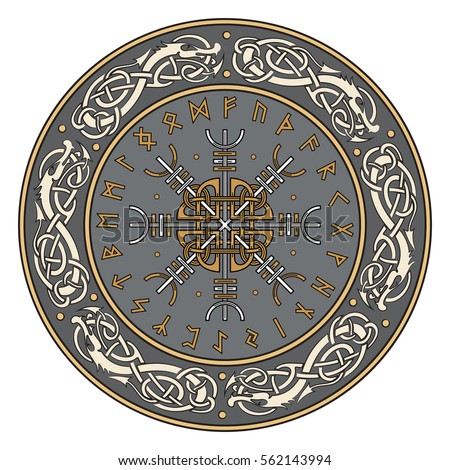 Viking shield, decorated with a Scandinavian pattern of dragons and Aegishjalmur, Helm of awe (helm of terror), Icelandic magical staves, isolated on white, vector illustration #562143994
