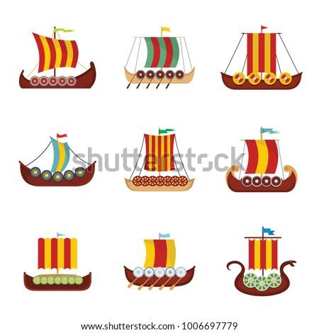 Viking ship boat drakkar icons set. Flat illustration of 9 viking ship boat drakkar vector icons for web