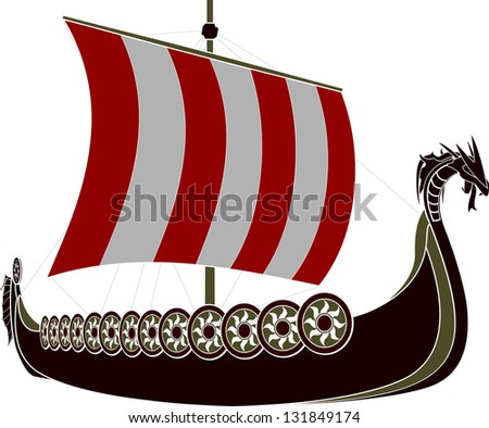 viking ship stencil vector