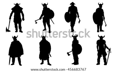 viking silhouettes on the white