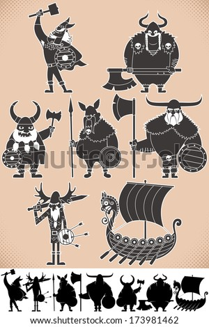 viking silhouettes  set of
