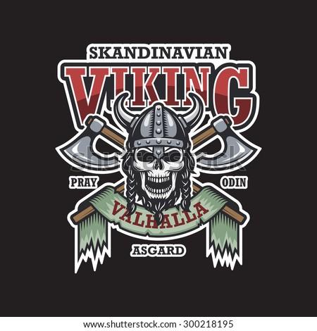 viking skull emblem on dark