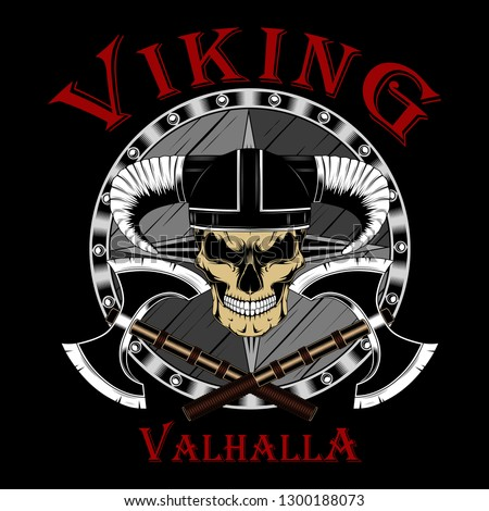 Viking skull in a helmet with two axes and a shield. Color vector image on a black background.