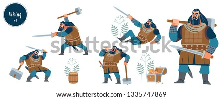 Viking. Strong dark viking warrior with axe and sword. Design concept with flat human character of various emotions in different situations with cartoon pictograms vector illustration