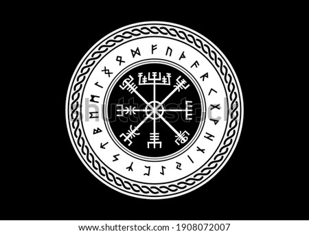 Viking Symbol Vegvisir Futhark Rune Magical Navigator Compass Meaning Art Board Print. Protective runic talisman for travelers. Compass for the wandering. Vector isolated on black background Foto stock ©