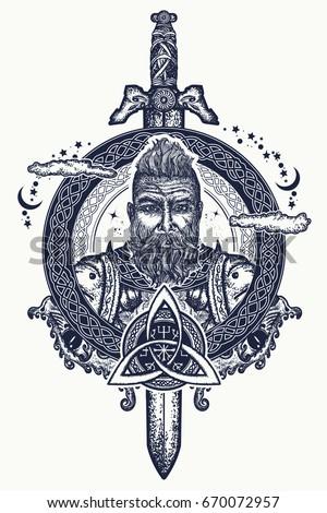 viking tattoo and t shirt