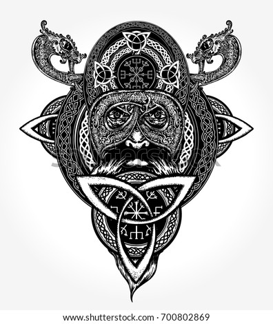 Viking tattoo and t-shirt design. Celtic emblem of Odin. Northern dragons, viking helmet, ethnic style