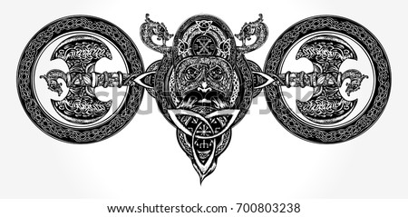 Viking tattoo and t-shirt design. North warrior head. Axe, dragons. Scandinavian mythology art print celtic style