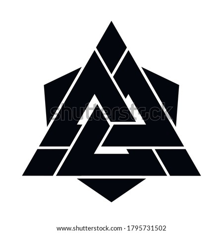 Viking Valknut sign symblol icon black color. Interwoven triangles. Vector illustration. Logo, tattoo, amulet. Scandinavian mythology. Odin Symbol, Trinity. Stock photo ©
