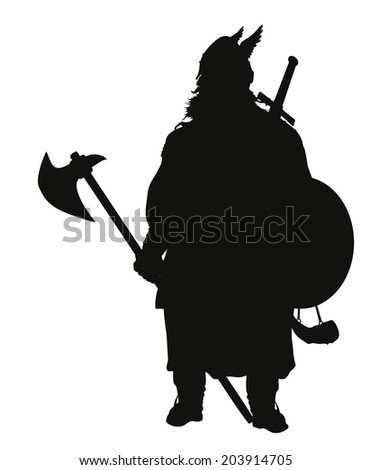 viking with axe detailed vector
