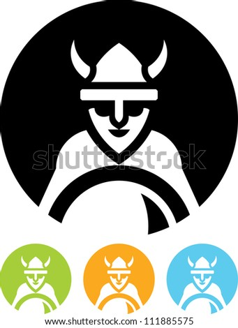 Viking with shield  - Vector icon