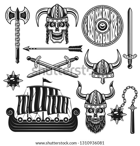 Vikings and scandinavian warriors set of vector objects and design elements in monochrome vintage style isolated on white background