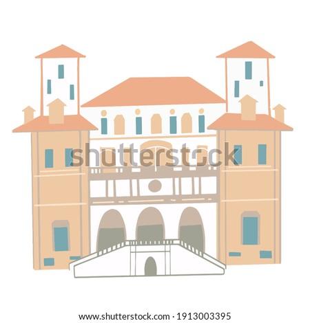Villa Borghese (Galleria Borghese) in Rome, Italy. Vector illustration. Foto d'archivio ©