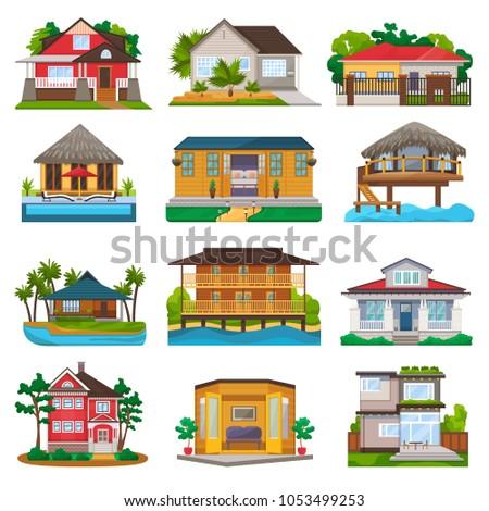 villa vector facade of house