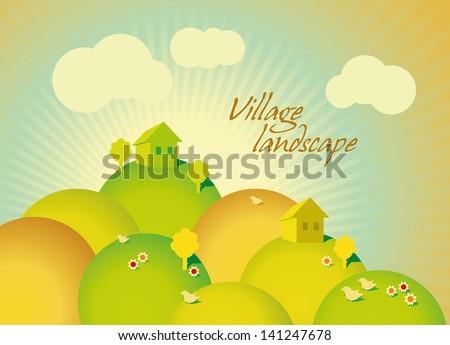 village green landscape with