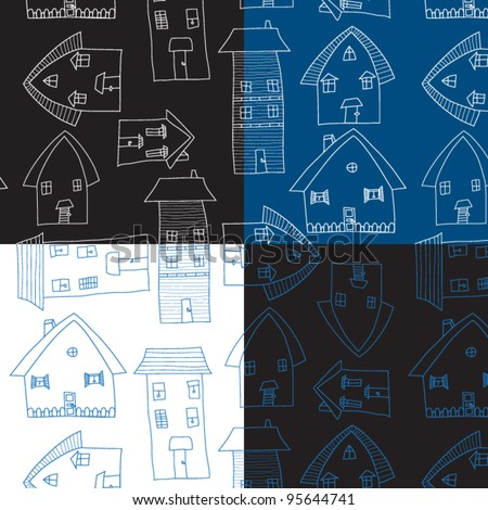 Village Houses, Pencil Drawing - four graphic seamless vector patterns